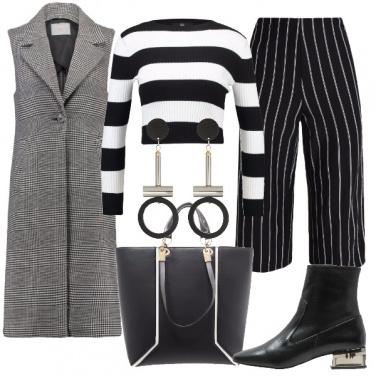 Outfit Bianco e nero movimentato