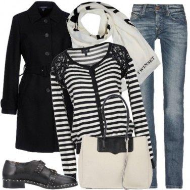 Outfit Bianco e nero sul jeans