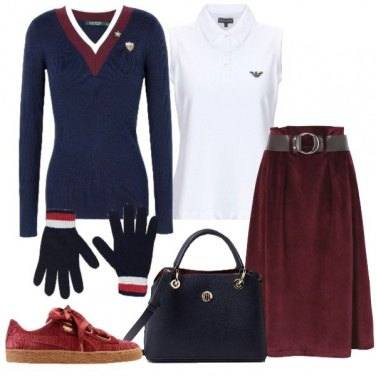 Outfit Bon Ton in blu e bordeaux