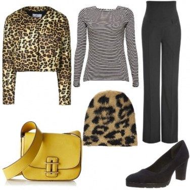 Outfit Borsa gialla e animalier