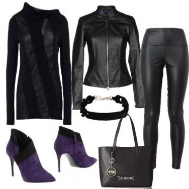 Outfit Biker in tacchi a spillo