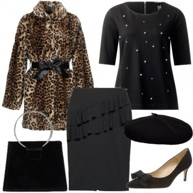 Outfit Bon ton col cappottino maculato