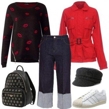Outfit Jeans culotte con risvolto