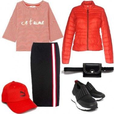Outfit Stripes Urban in rosso e nero