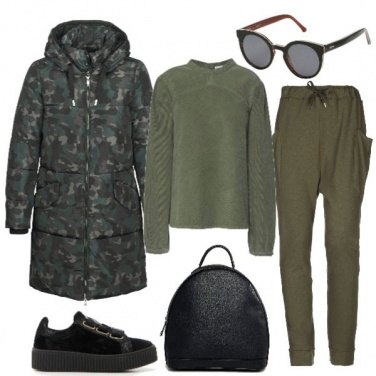 Outfit Il piumino lungo camouflage