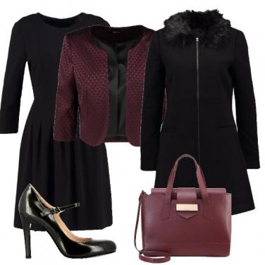 Outfit Bon ton con tocco vinaccia