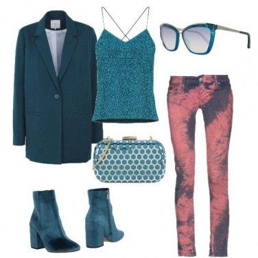 Outfit Rosa e verde petrolio