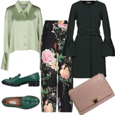 Outfit Verde floreale