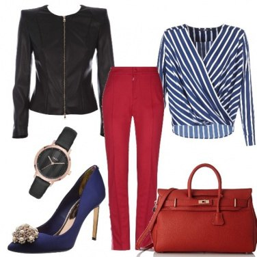 Outfit Red black and blue