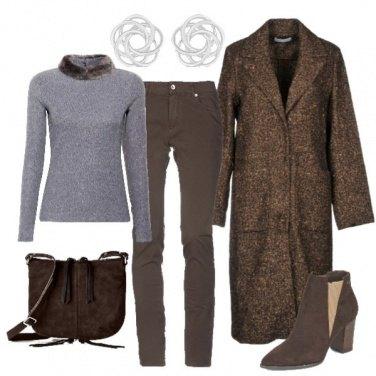 Outfit Cioccolato e grigio