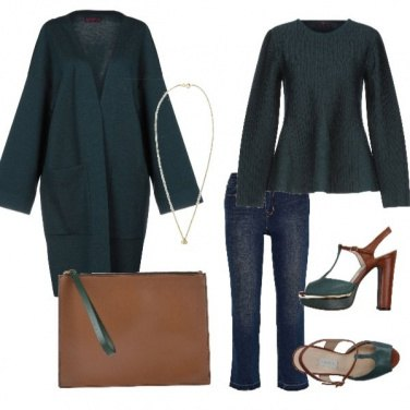 Outfit Verde e cuoio