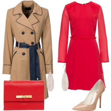 Outfit Rosso e beige