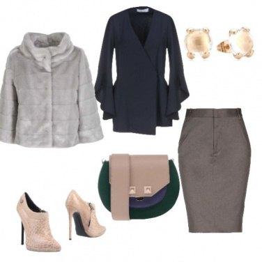 Outfit Pelliciotto grigio perla