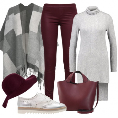 Outfit Un grigio pomeriggio bordeaux