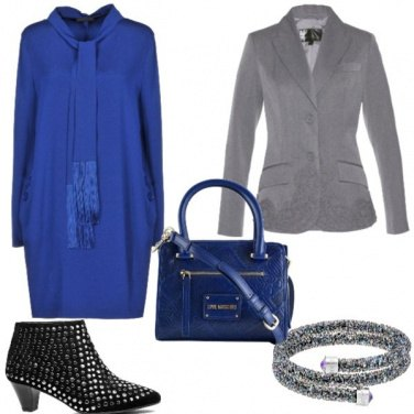 Outfit Elegante in blu e grigio