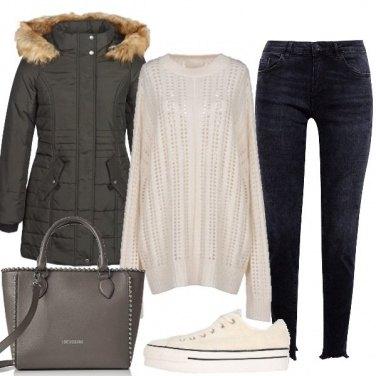 Outfit Converse e piumino