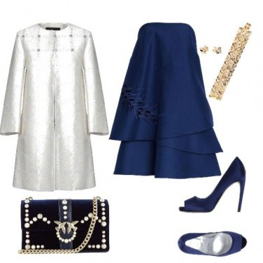 Outfit Bianco natale in blu
