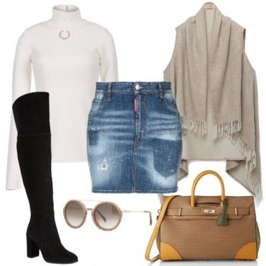 Outfit Gonna in jeans e stivale