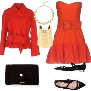 Outfit Natale style:rosso, nero e oro.