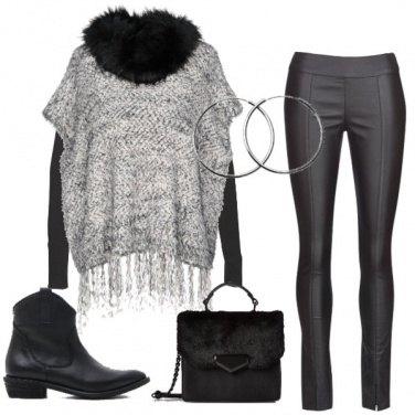 Outfit Pelle, pelliccia, e frange