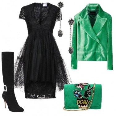 Outfit Nero e verde per la festa