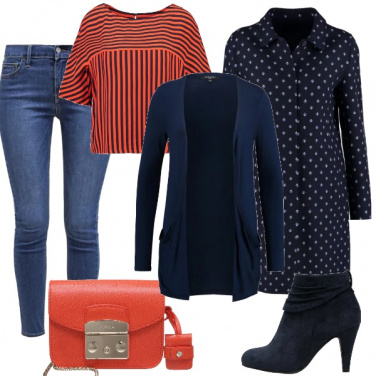 Outfit Mix and match in blu e arancione