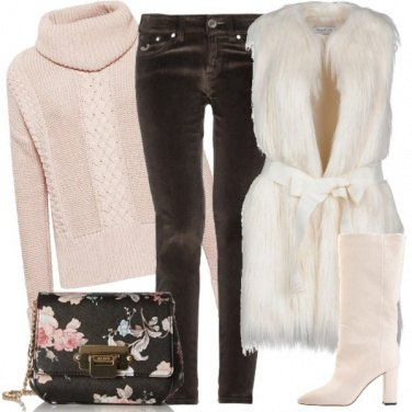 Outfit Il candido gilet in ecopelliccia