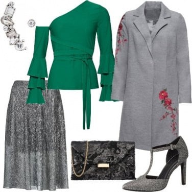 Outfit Party in silver e verde