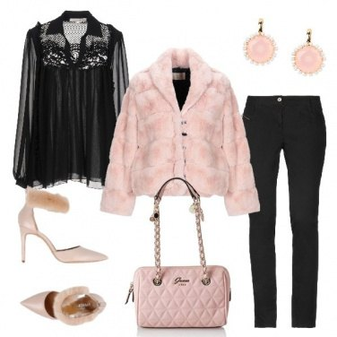 Outfit Deliziosa in rosa e nero