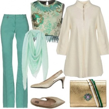 Outfit Chic in verde e oro
