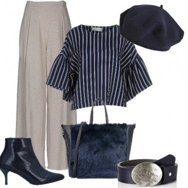 Outfit Blu e righe