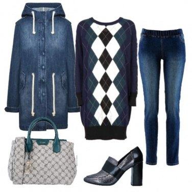 Outfit Quadri e jeans a lezione