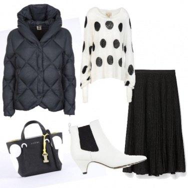 Outfit Pois bianco e nero