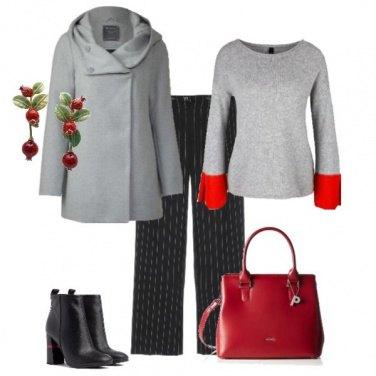Outfit Raffinata in grigio e rosso