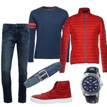 Outfit Rosso e blue