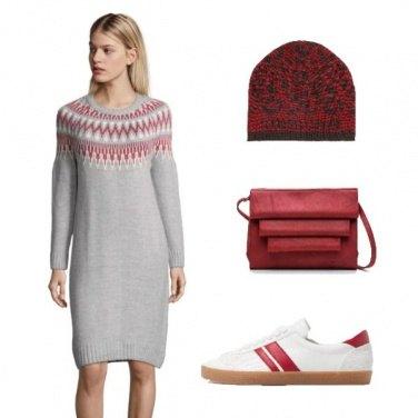 Outfit Vestito in lana e sneakers