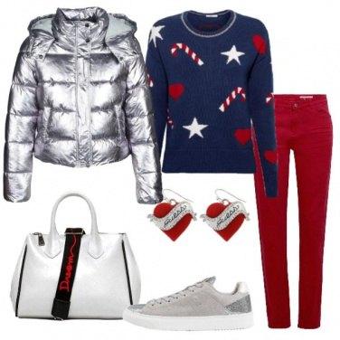 Outfit Bauletto bianco e sneaker silver