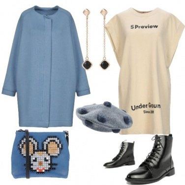 Outfit Vestito in felpa e cappottino