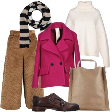 Outfit Rosa e righe