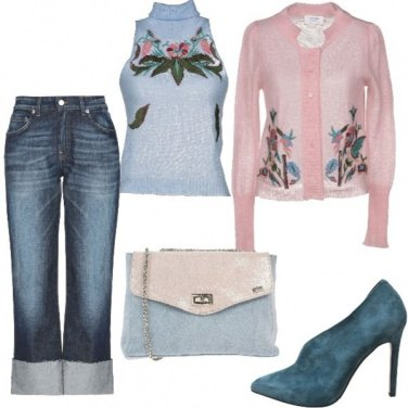Outfit Jeans e tween-set in lana e ricami