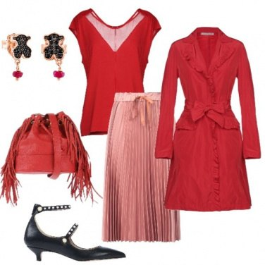 Outfit Natale rosso e rosa