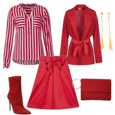 Outfit Rosso a righe