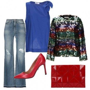 Outfit Capodanno in jeans e paillettes