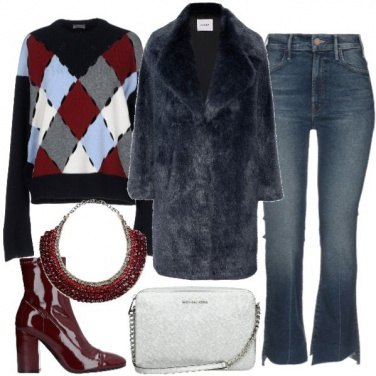 Outfit Faux Fur in Blu