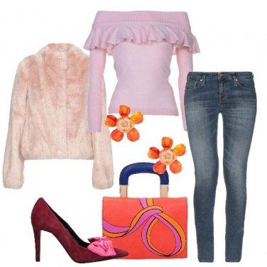 Outfit Feste in jeans e fiocchi