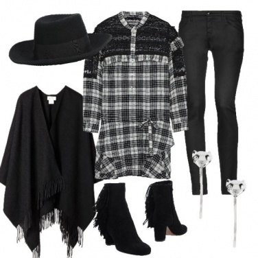 Outfit Total black cow girl