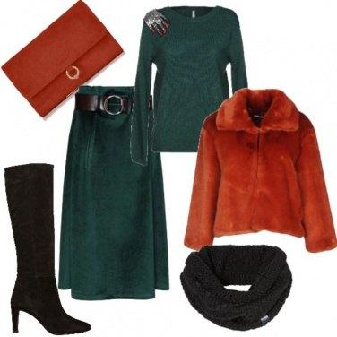 Outfit Arancio verde e nero
