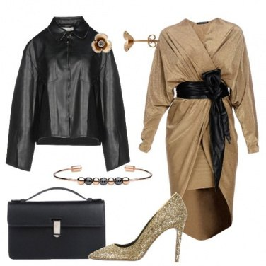 Outfit Trendy al party in oro e nero