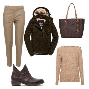 Outfit Marrone e beige