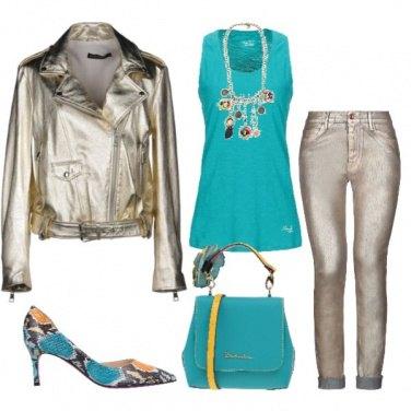 Outfit Gold & turchese la tua vita a colori
